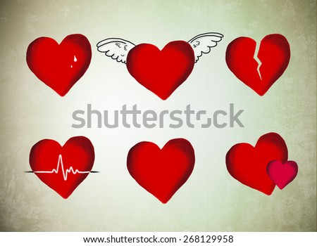 Red Hearts Tears Flying Wings Breaking Stock Illustration Royalty