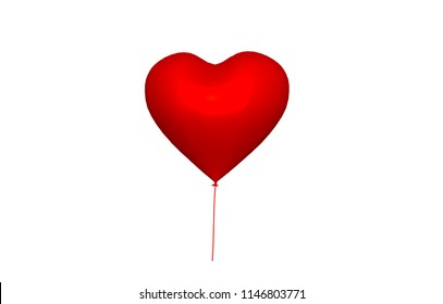 red heart-shaped balloon 3D rendering