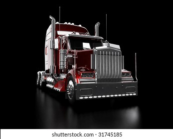 Red heavy truck isolated on black background