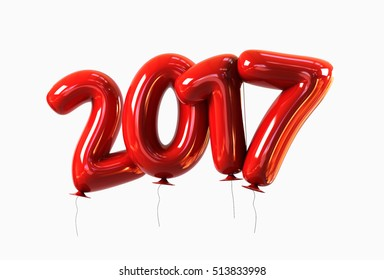 Red Helium 2017 Balloons with glossy reflections isolated. Happy New Year Concept. 3d rendering