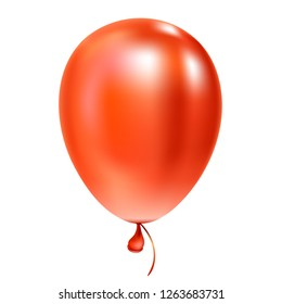 Red helium balloon Birthday baloon flying for party and celebrations Isolated on white background.  illustration for your design and business