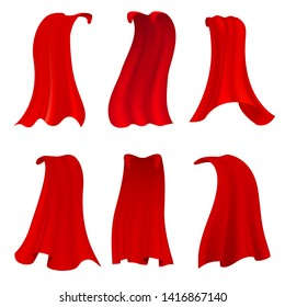 Red hero cape. Realistic fabric scarlet cloak or magic vampire cover. set isolated on background. Illustration of fabric silk clothing, mantle costume