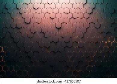 Red hexagon pattern. 3D Rendering