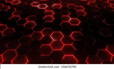 Red hexagons pattern. Abstract technology background for sci-fi concept.