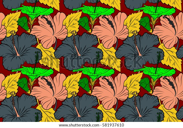 Red hibiscus flowers seamless pattern.