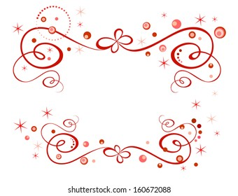 Red holiday border. Raster copy