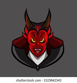The red horns vampire logo mascot on Halloween festival