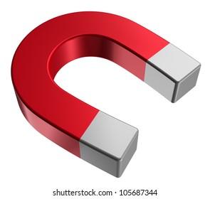 Red horseshoe magnet isolated on white background