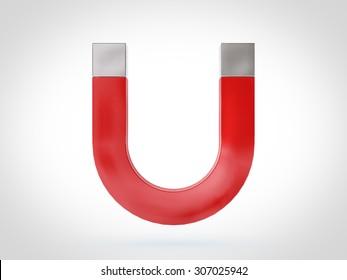 Red horseshoe magnet on white background