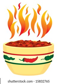Red hot chili bowl with flames illustration