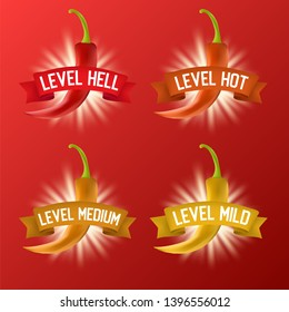 Red hot chili pepper heat scale. realistic illustration. Mild, medium, hot and hell levels.