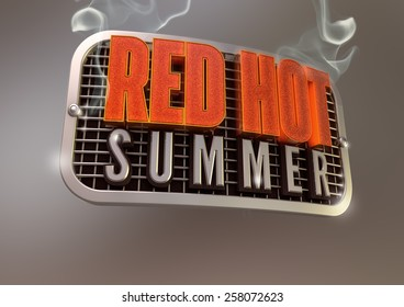Red Hot Summer smoking title on retro style metal grill