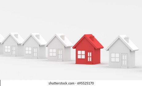 Red house among white houses. Hunting and searching concept. 3D Rendering