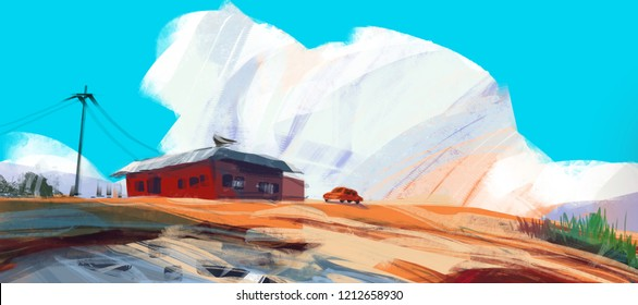 red house in desert with sport car against blue sky and puffy clouds, digital illustration art painting design style. (wide screen)