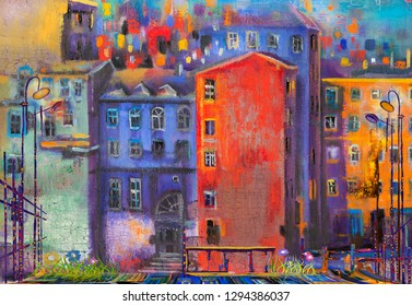 Red house at night street. Oil painting cityscape.