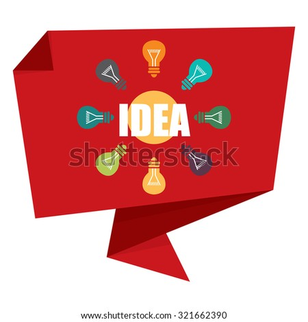 Red Idea With Light Bulb Paper Origami Speech Bubble or Speech Balloon Infographics Sticker, Label, Sign or Icon Isolated on White Background