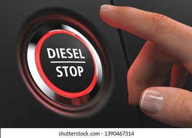Red illuminated push button - diesel stop (3D Rendering)