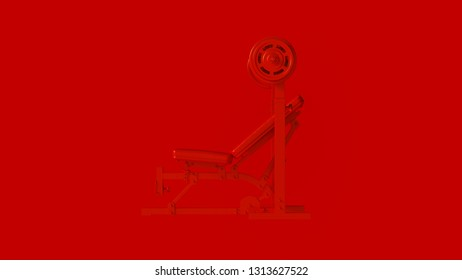 Red Incline Weight Bench 3d illustration