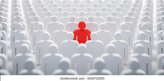Red individual in the crowd - concept of leadership and excellence - 3D illustration