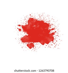 red ink splatter splash brush dots art abstract design element isolated on white background empty blank graphic