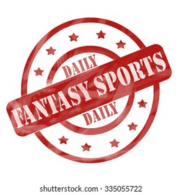A red ink weathered roughed up circles and stars stamp design with the words DAILY FANTASY SPORTS on it making a great concept.
