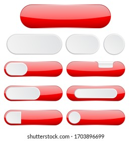 Red interface buttons. Web icons. 3d illustration isolated on white background. Raster version