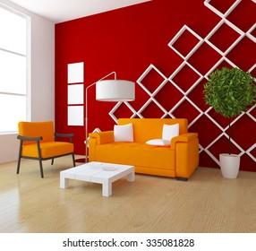 red interior with orange furniture. 3d rendering