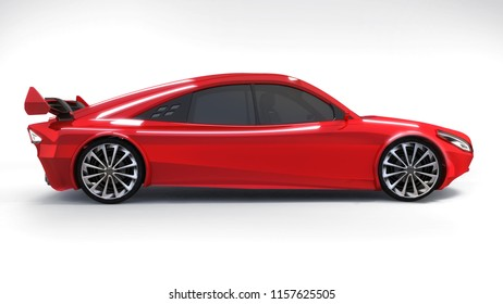 red isolated car side view on white background, 3D rendering, modern car design concept of my own