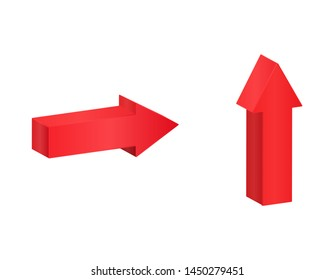 Red isometric arrows, 3D pointing symbol illustration