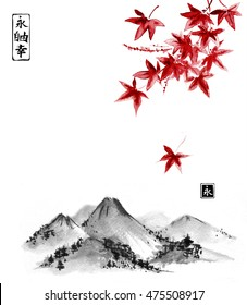 Red japanese maple leaves and wild mountains on white background. Traditional oriental ink painting sumi-e, u-sin, go-hua.