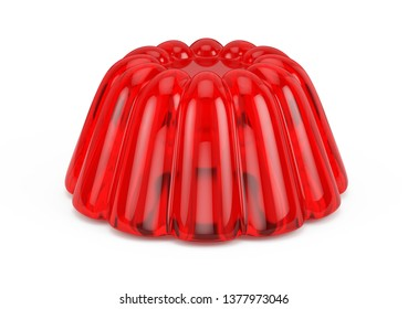 Red Jelly isolated on white. 3d rendering