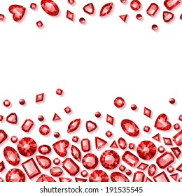 Red jewels seamless horizontal background. Raster version.