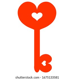 red key with hearts, a symbol of romance and love