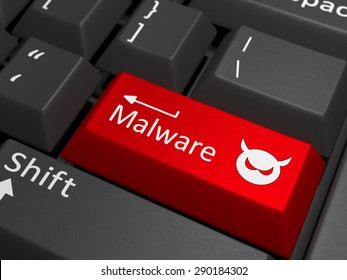 A red key with the text malware on a black keyboard combined with a threat sign. 3D Illustration