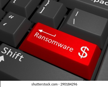 A red key with the text ransomware on a black keyboard combined with the dollar sign. 3D Illustration