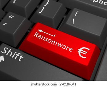 red key with the text ransomware on a black keyboard combined with the euro sign. 3D Illustration