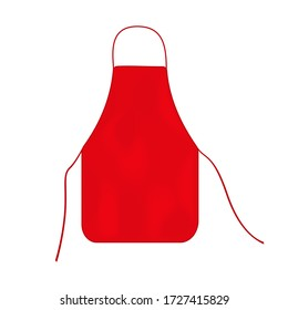 Red kitchen apron isolated on a white background
