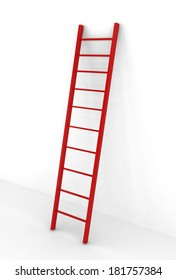 Red ladder. 3d illustration on white background