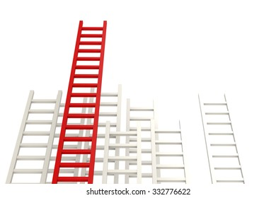 Red ladder among white image with hi-res rendered artwork that could be used for any graphic design.