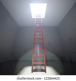 Red Ladder to the exit in dark interior