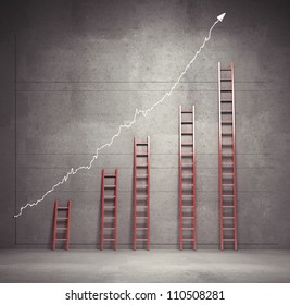 red ladders chart, business concept