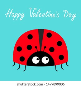 Red lady bug ladybird icon. Love greeting card. Cute cartoon kawaii funny baby character. Happy Valentines Day. Flat design. Blue background.