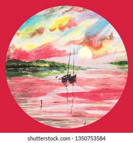 Red landscape lake sea boat sailer watercolor sea water waves sunset dawn sun rays gentle color juicy texture illustration panorama mountains hill reflection shining clouds sky. Tropical circle frame