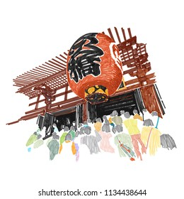 Red lantern Sensoji temple at Asakusa neighborhood , Tokyo Japan sketchbook style : Illustration design.