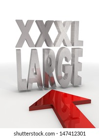 Red  large supersize 3d graphic with decorative XL icon with red arrow