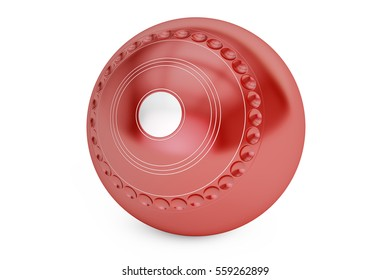 Red Lawn Bowl closeup, 3D rendering isolated on white background