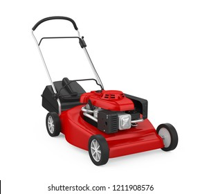 Red Lawn Mower Isolated. 3D rendering
