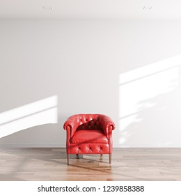 Red leather classic armchair in white interior 3D render