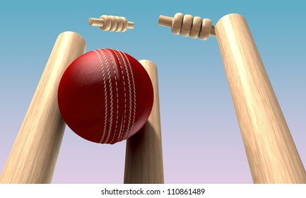 A red leather cricket ball hitting wooden cricket wickets in the daytime