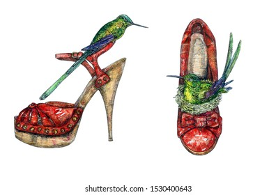Red leather heel shoes with green hummingbird sitting in nest inside and other one on stilettos shoes sandals, hand painted watercolor with ink drawing illustration